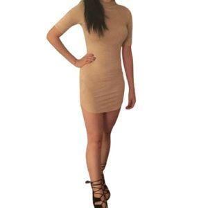 Tan Velvet-Material Turtleneck Short Sleeve Dress